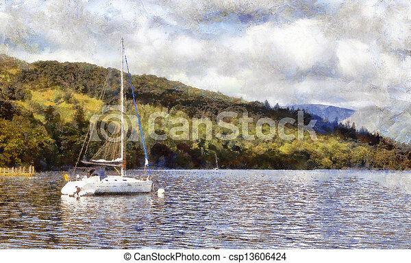 Moored yacht on lake windermere - csp13606424