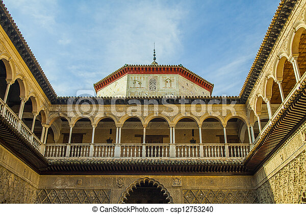 moorish architecture in seville inside the alcazar reales in