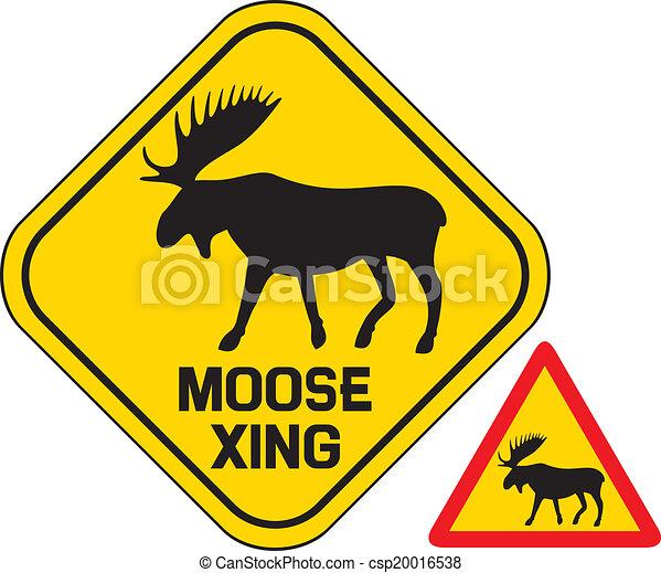 moose crossing road sign  - csp20016538