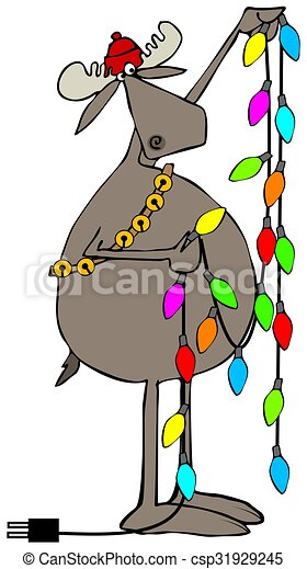 moose handling christmas lights csp31929245