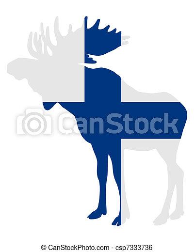 Moose in finnish flag - csp7333736