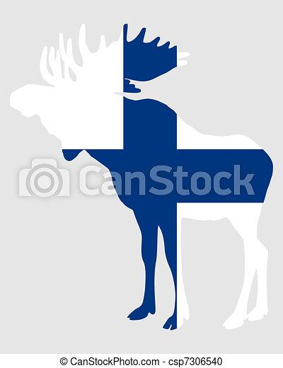 Moose in finnish flag - csp7306540