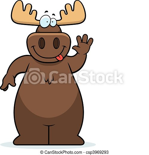 moose waving a happy cartoon moose waving and smiling rh canstockphoto com moose cartoon pictures free cartoon baby moose pictures