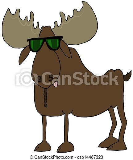 Moose Wearing Sunglasses This Illustration Depicts A Bull