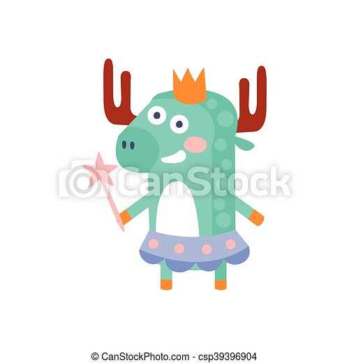 Moose With Party Attributes Girly Stylized Funky Sticker - csp39396904