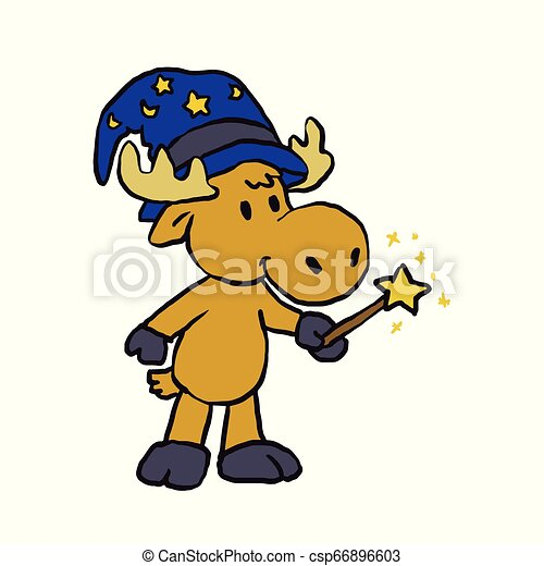 Moose wizard holding a magic wand - csp66896603
