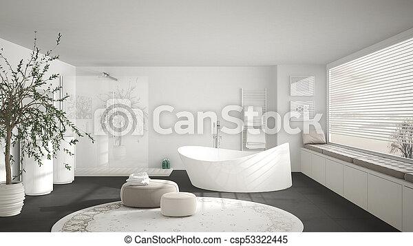 moquette, gris, salle bains, classique, grand, moderne, grand, panoramique,  conception, fenêtre, minimalistic, intérieur, blanc, rond