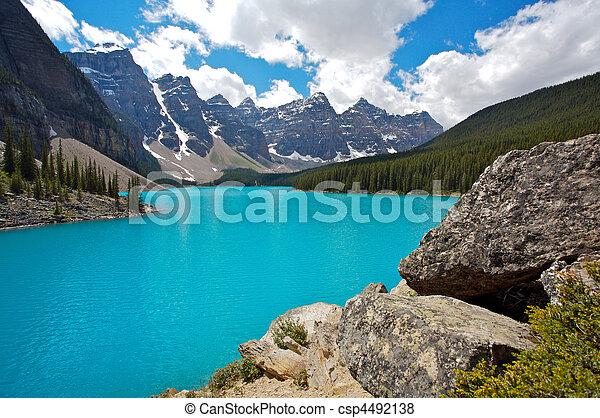 moräne, nationalpark, see, banff - csp4492138