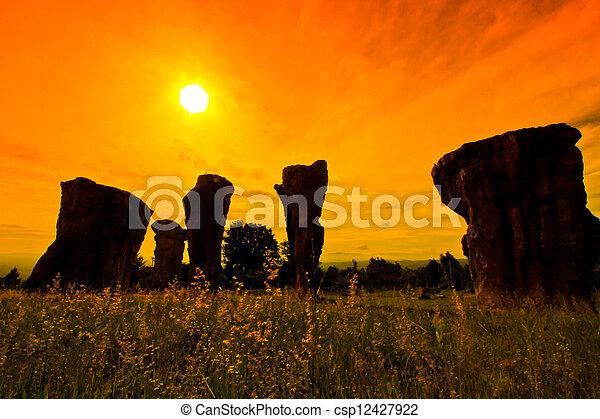 Mor Hin Khao, Stonehenge of Thailand in Chaiyaphum Province - csp12427922