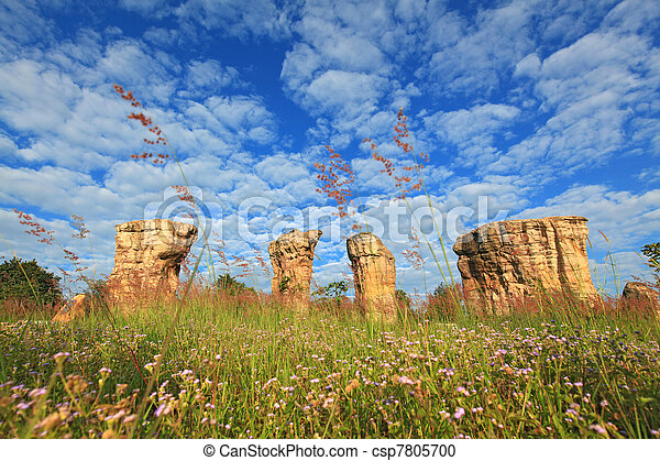 Mor Hin Khao, Thailand stonehenge, with beautiful field - csp7805700