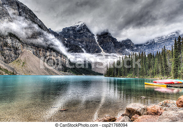 Moraine Lake on a Cloudy Day - csp21768094