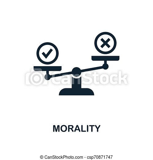 Morality icon. Monochrome style design from business ethics icon collection. UI and UX. Pixel perfect morality icon. For web design, apps, software, print usage. - csp70871747