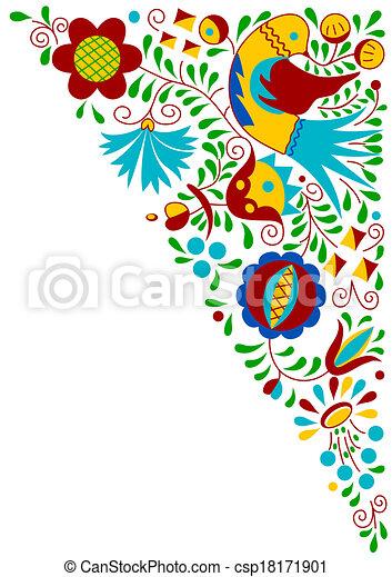Moravian folk bird ornament - csp18171901