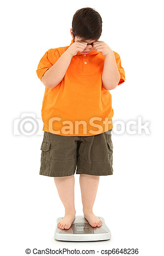 Morbidly Obese Fat Child on Scale - csp6648236