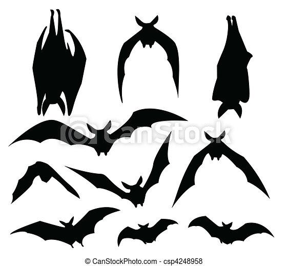 morcegos silueta movimento morcego silueta vário desenho usage