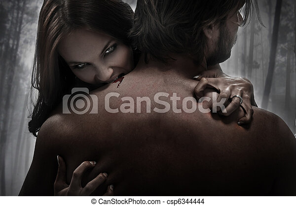 mordida, mulher, vampiro - csp6344444
