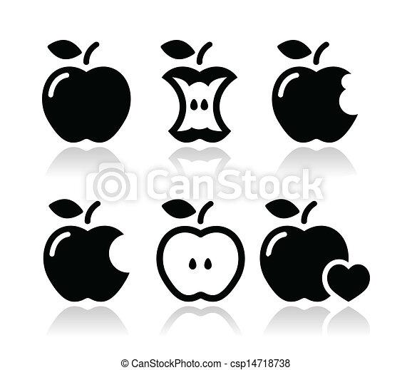 Manzana, núcleo de manzana, iconos mordidos - csp14718738