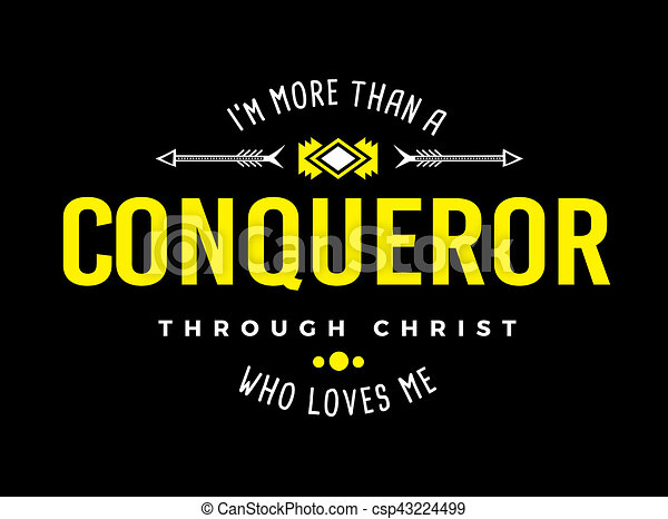 more than a conqueror christian typography art emblem design white