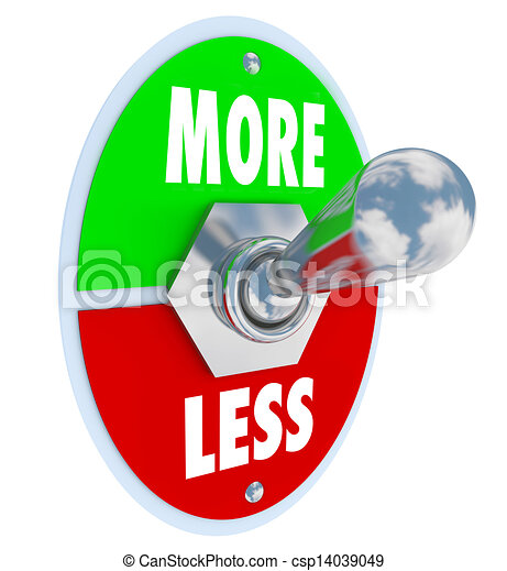 More Vs Less Toggle Switch On Off Increase Higher Amount - csp14039049