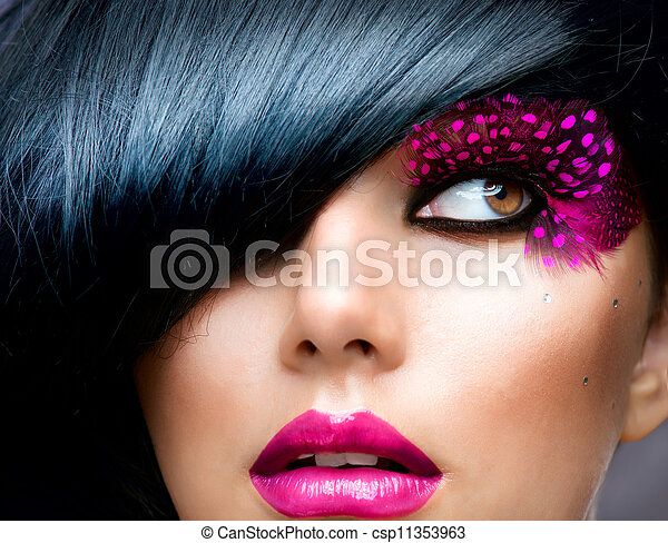 morena, modelo, moda, portrait., peinado - csp11353963