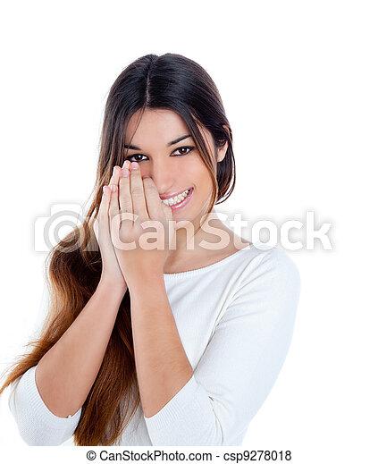 Chica india tímida morena morena china sonriendo - csp9278018