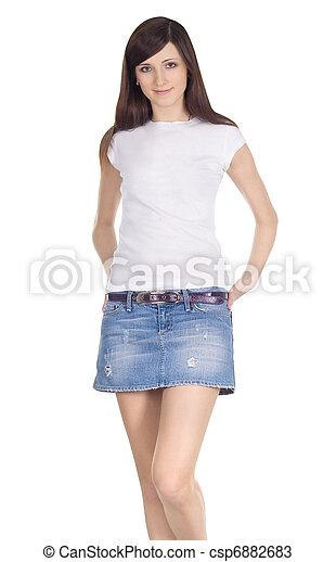 morena, tela vaquera, encantador, falda - csp6882683