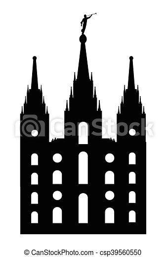 Mormón, estilo, templo. Estilo, silueta, templo mormónico, plano de ...