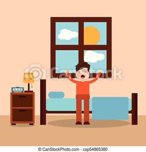 morning bedroom cartoon character waking up stretching vector rh canstockphoto co uk bathroom clipart black and white bathroom clipart