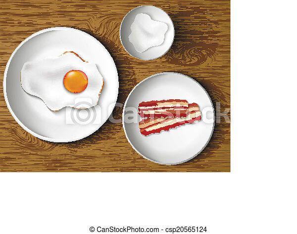 morning breakfast. bacon and eggs - csp20565124