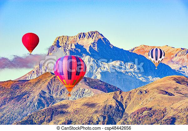 Morning flight of the three hot air balloons. - csp48442656