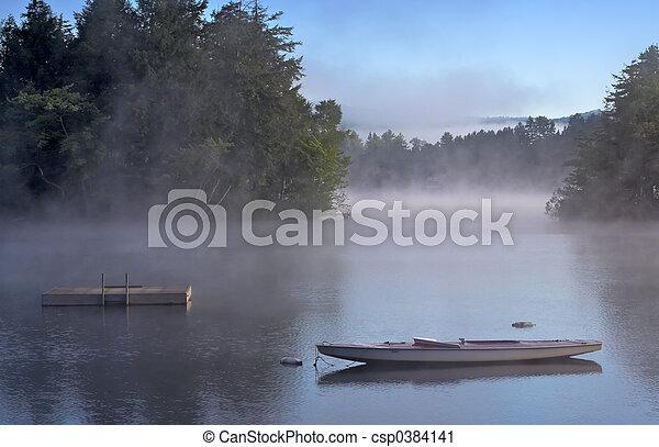 Morning Fog on a Lake - csp0384141
