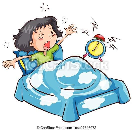 morning ringing alarm waking a girl up from the sleep vectors rh canstockphoto com wake up early clipart waking up clipart