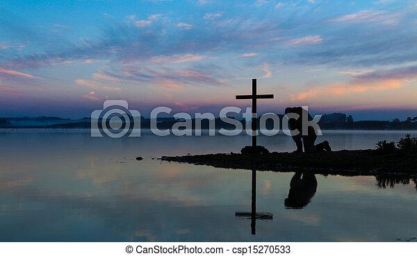 Morning Lake Pray - csp15270533