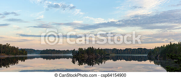 morning landscape on a forest lake - csp64154900