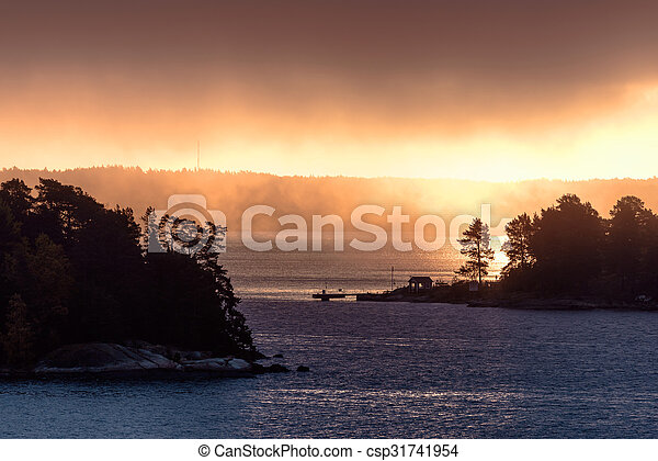 Morning mist at sunrise - csp31741954