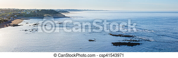 Morning ocean view from shore (Bay of Biscay). - csp41543971