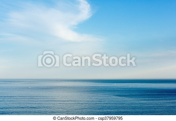 Morning ocean view from shore (Bay of Biscay). - csp37959795