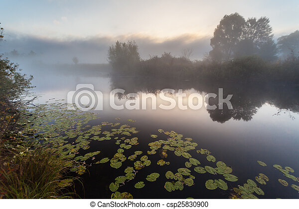 Morning on the bank of autumn lake - csp25830900