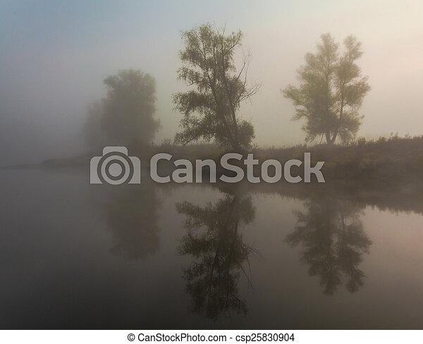 Morning on the bank of autumn lake - csp25830904