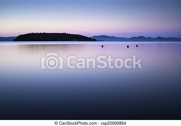 Morning on the shore of a mountain lake - csp20990864