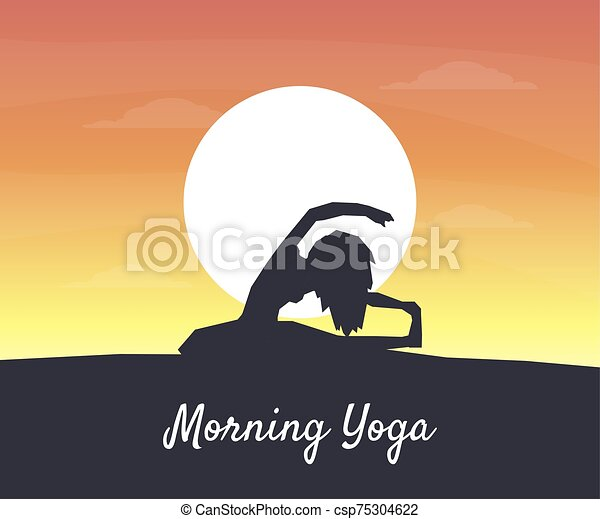 Morning Yoga Banner Silhouette Of A Girl On The Background Of The Rising Sun Vector Illustration Web Design