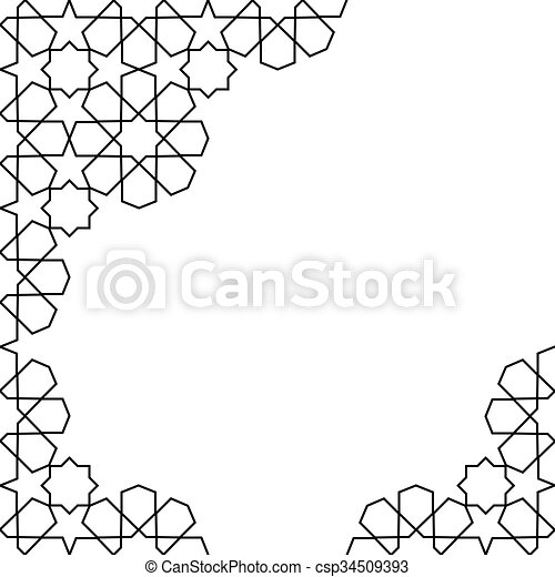Moroccan mosaic template. White and black moroccan zellige mosaic ...