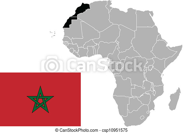 Morocco flag and map - csp10951575