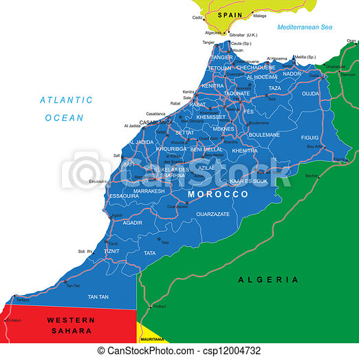 Morocco map. Highly detailed vector map of morocco with ...