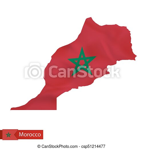 Morocco map with waving flag of Morocco. - csp51214477