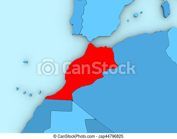Morocco on 3D map - csp44796825