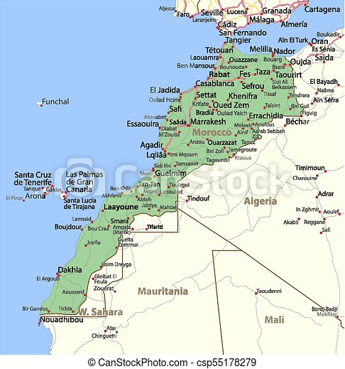 Morocco World Countries Vectormap A Map Of Morocco Shows Country