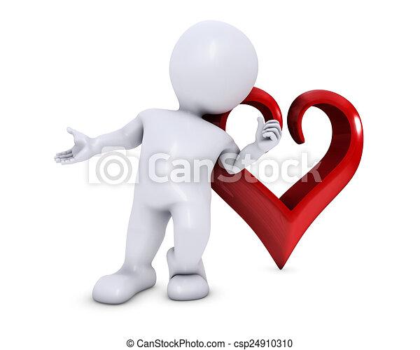 Hombre Morph con corazón - csp24910310