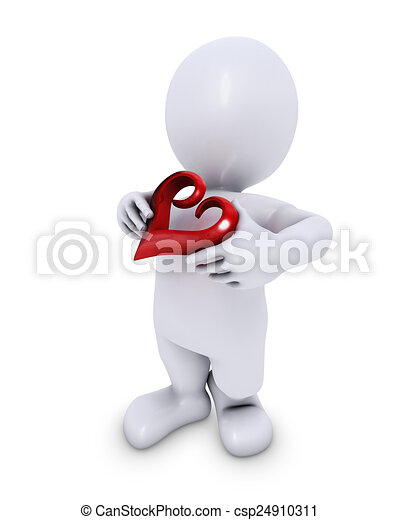 Hombre Morph con corazón - csp24910311