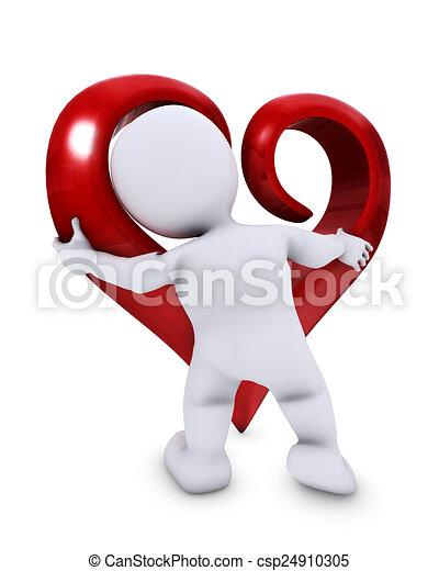 Hombre Morph con corazón - csp24910305
